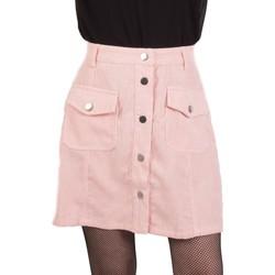 Vêtements Femme Jupes Primtex Jupe  taille haute velours à bouton et poches avant Rose
