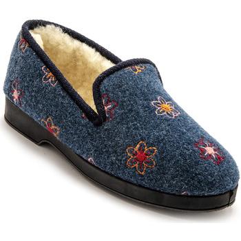 Chaussures Femme Chaussons Charmance Charentaises fourrées laine bleufleursbrodes