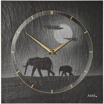 Vêtements de nuit Horloges Ams 9524, Quartz, Black, Analogue, Modern Noir