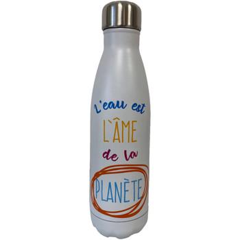 Maison & Déco Bouteilles Zen Et Ethnique Bouteille isotherme en inox L'eau est l'âme de la Planète Blanc