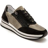 Chaussures Femme Baskets basses Pediconfort Baskets cuir semelle amovible noirkaki