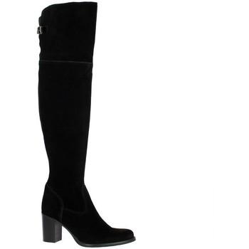 Chaussures Femme Bottes ville Spaziozero Genouilleres cuir velours Noir