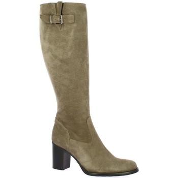 Chaussures Femme Bottes ville Spaziozero Bottes cuir velours Taupe
