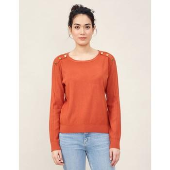 Vêtements Femme Pulls La Fiancee Du Mekong Pull maille boutons KOGA Orange ecureuil
