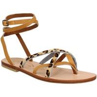 Chaussures Femme Sandales et Nu-pieds Spartiates Phoceennes Linda cuir Femme Naturel Leopard Beige