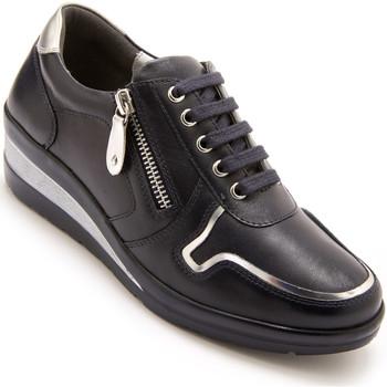 Chaussures Femme Baskets basses Pediconfort Derbies à zip et lacets en cuir marine