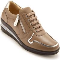 Chaussures Femme Baskets basses Pediconfort Derbies à zip et lacets en cuir marron