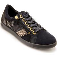Chaussures Femme Baskets basses Pediconfort Baskets zippées cuir semelle amovible marine