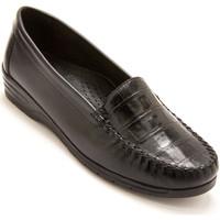 Chaussures Femme Mocassins Pediconfort Mocassins façon croco largeur confort noircroco