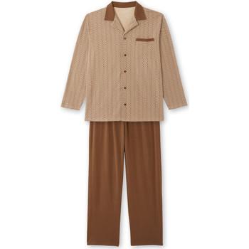 Vêtements Homme Pyjamas / Chemises de nuit Honcelac Pyjama maille pur coton imprimbeige