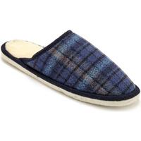 Chaussures Homme Chaussons Honcelac Mules mixtes semelle feutre fourrées lai ecossaisbleu