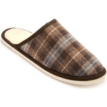 Chaussures Homme Chaussons Honcelac Mules mixtes semelle feutre fourrées lai ecossaismarron