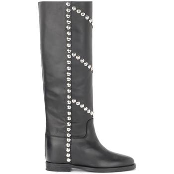 Chaussures Femme Bottes ville Via Roma 15 Bottes en cuir noir avec clous devant et sur les côtés Noir