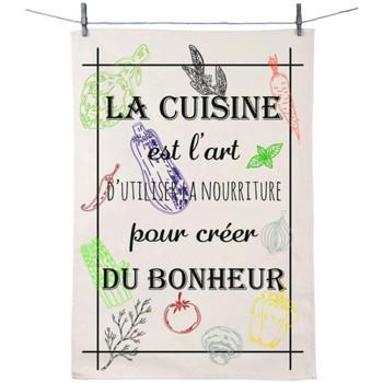 Maison & Déco Torchons Retro Essuie main en coton décoré - Cuisine art du bonheur Blanc