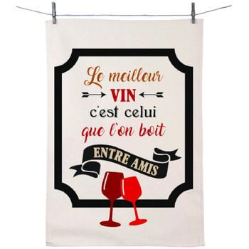 Maison & Déco Torchons Retro Torchon en coton décoré - Meilleur Vin Blanc