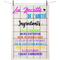 Maison & Déco Torchons Retro Torchon en coton décoré - Recette de l'amitié Blanc