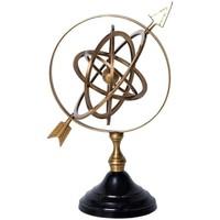 Maison & Déco Statuettes et figurines Chehoma Globe anneaux laiton doré 35x14x30cm Laiton