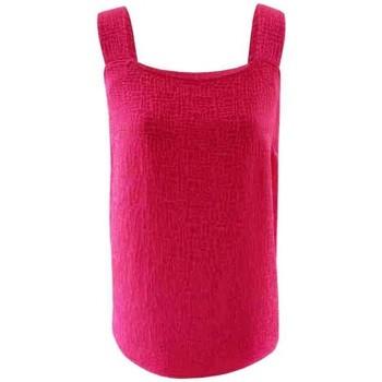 Vêtements Femme Tops / Blouses Georgedé Top Long Soléna à Bretelles Large en Jacquard Fuchsia Rose