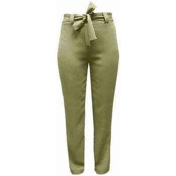 Vêtements Femme Chinos / Carrots Georgedé Pantalon Emma Fluide avec Ceinture Kaki Vert