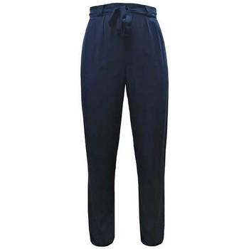 Vêtements Femme Pantalons fluides / Sarouels Georgedé Pantalon Emma Fluide avec Ceinture Marine Bleu