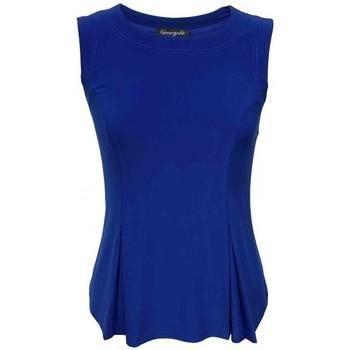 Vêtements Femme Tops / Blouses Georgedé Top Delphine Sans Manche en Jersey Bleu Royal Bleu