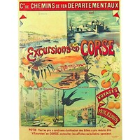 Maison & Déco Affiches, posters Corse Affiche ancienne de  Excursions Multicolore