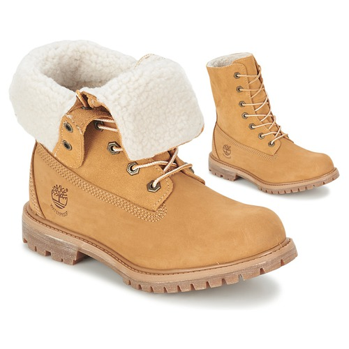 Chaussures Femme Boots Timberland AUTHENTICS TEDDY FLEECE WP FOLD DOWN Cognac clair
