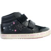 Chaussures Enfant Baskets montantes Geox Basket Cuir  Kilwi Noir