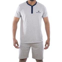 Vêtements Homme Pyjamas / Chemises de nuit Serge Blanco Ensemble homme Pyjama court T-shirt col tunisien Gris