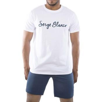 Vêtements Homme Pyjamas / Chemises de nuit Serge Blanco Ensemble homme Pyjama court T-shirt col rond bicolore Blanc