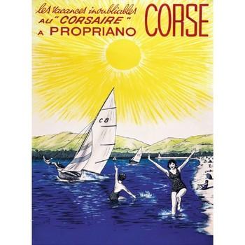 Maison & Déco Affiches, posters Corse Affiche ancienne Propriano Jaune