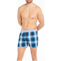 Sous-vêtements Homme Caleçons Arthur Caleçon coupe américaine coton Blanc et bleu