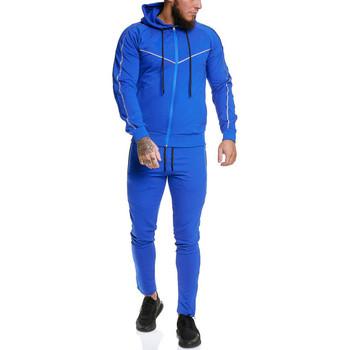 Vêtements Homme Ensembles de survêtement Monsieurmode Survêtement fashion homme Survêt 13106 bleu Bleu