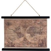 Maison & Déco Tableaux, toiles Retro Toile déco Carte du monde vintage à suspendre Marron