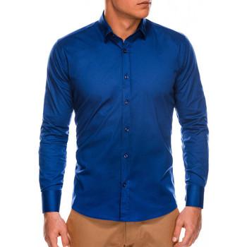 Vêtements Homme Chemises manches longues Monsieurmode Chemise slim-fit homme Chemise 504 bleu foncé Bleu