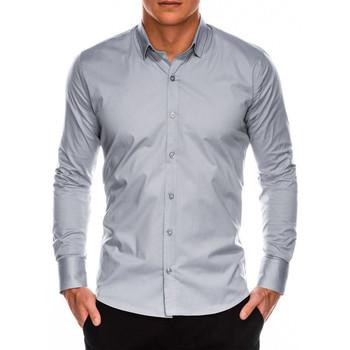 Vêtements Homme Chemises manches longues Monsieurmode Chemise homme slim fit Chemise 504 gris clair Gris