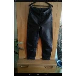 Vêtements Femme Pantalons 5 poches Sans marque Pantalon cuir Noir
