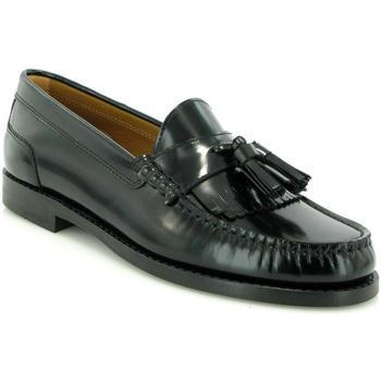 Chaussures Femme Derbies Atlanta Mocassin Mocassins Sarah en cuir avec pompon Noir