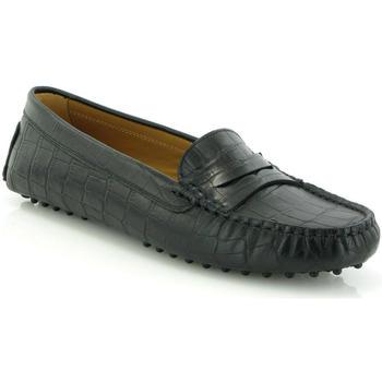 Chaussures Femme Derbies Atlanta Mocassin Mocassins Michèle en cuir noir effet croco Noir