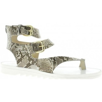 Chaussures Femme Tongs Reqin's Nu pieds cuir python Taupe