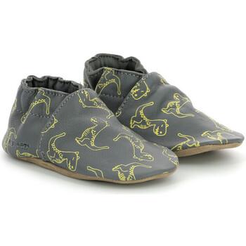 Chaussures Garçon Chaussons bébés Robeez Crazy Dino GRIS