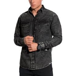 Vêtements Homme Chemises manches longues Monsieurmode Chemise jean pour homme Chemise 567 noir Noir