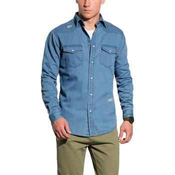 Vêtements Homme Chemises manches longues Monsieurmode Chemise homme en jeans Chemise 567 bleu Bleu