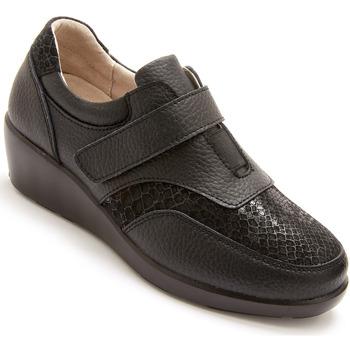 Chaussures Femme Derbies Pediconfort Derbies cuir à élastique et scratch noir