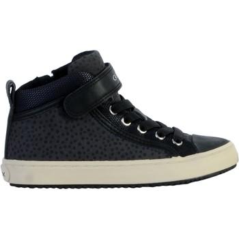 Chaussures Femme Baskets montantes Geox Basket Montante Cuir /Fille Kalispera J744GI Gris Foncé/Noir