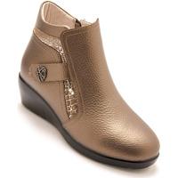 Chaussures Femme Bottines Pediconfort Boots semelle compensée zip et élastique vison