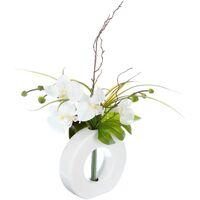 Maison & Déco Plantes artificielles Atmosphera Composition florale vase blanc - Hauteur 44 cm - Orchidée Blanc
