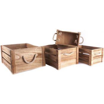 Maison & Déco Paniers, boites et corbeilles Heart Of The Home 4 Cagettes de rangement en bois avec cordes - 41 x H. 20 cm Marron