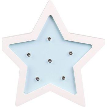 Maison & Déco Lampes à poser Hello Kids Lampe en bois enfant Etoile - H. 13 cm Bleu