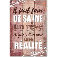 Maison & Déco Cadres photo Sud Trading Cadre imprimé effet bois De sa vie un rêve - 40 x 60 cm Marron